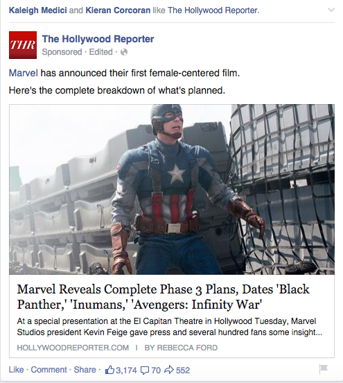 Screenshot of  The Hollywood Reporter's Facebook post