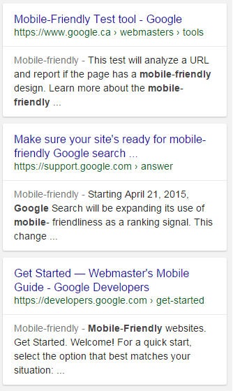 Mobile Friendly results in search