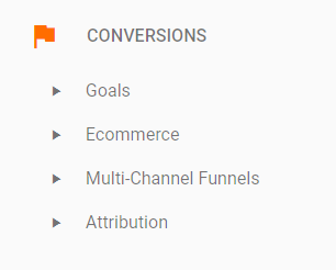 Google Analytics Conversion Reports Menu
