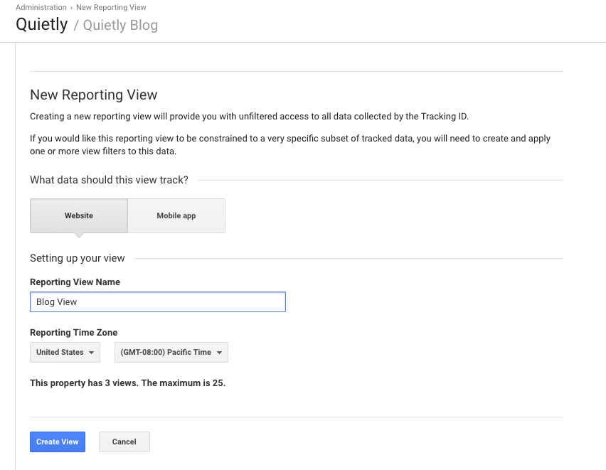 Create a blog view in Google Analytics