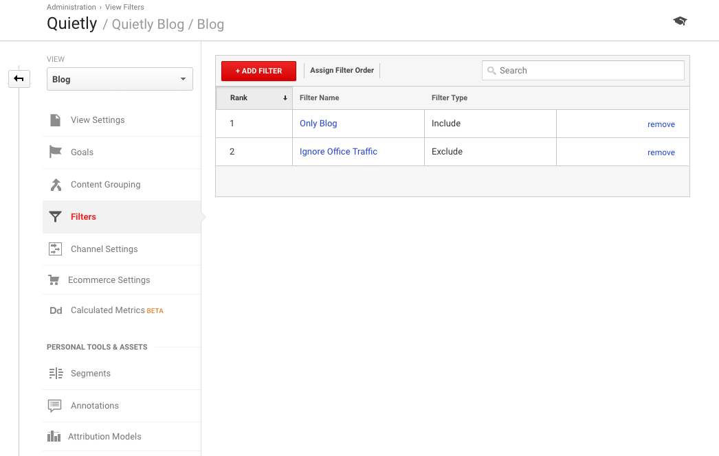 Add filter to view in Google Analytics