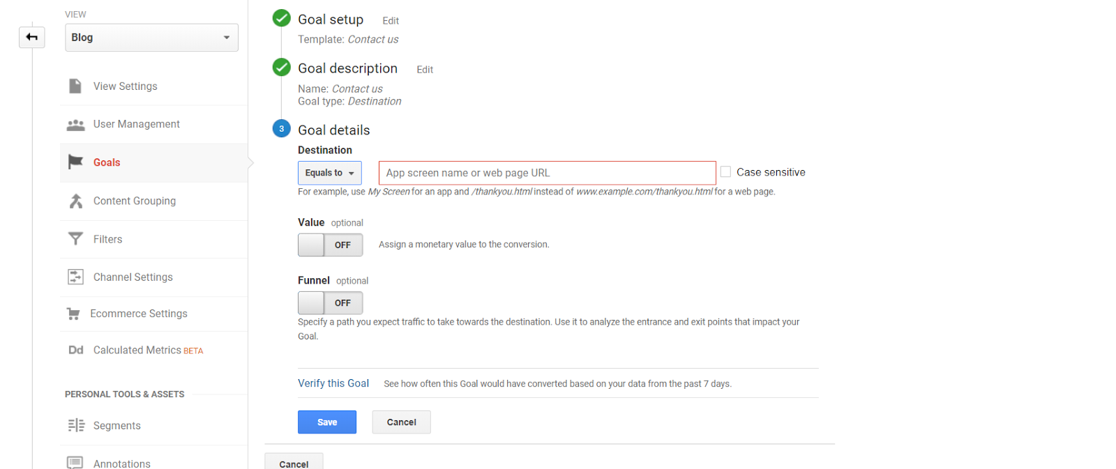 Destination Goal Setup Google Analytics