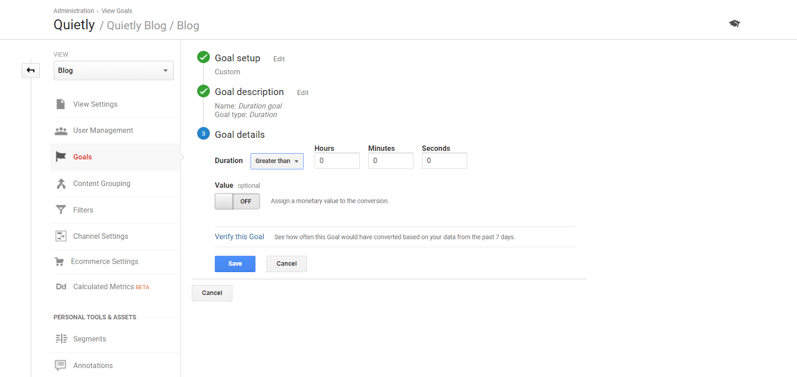 Duration Goal Example Google Analytics