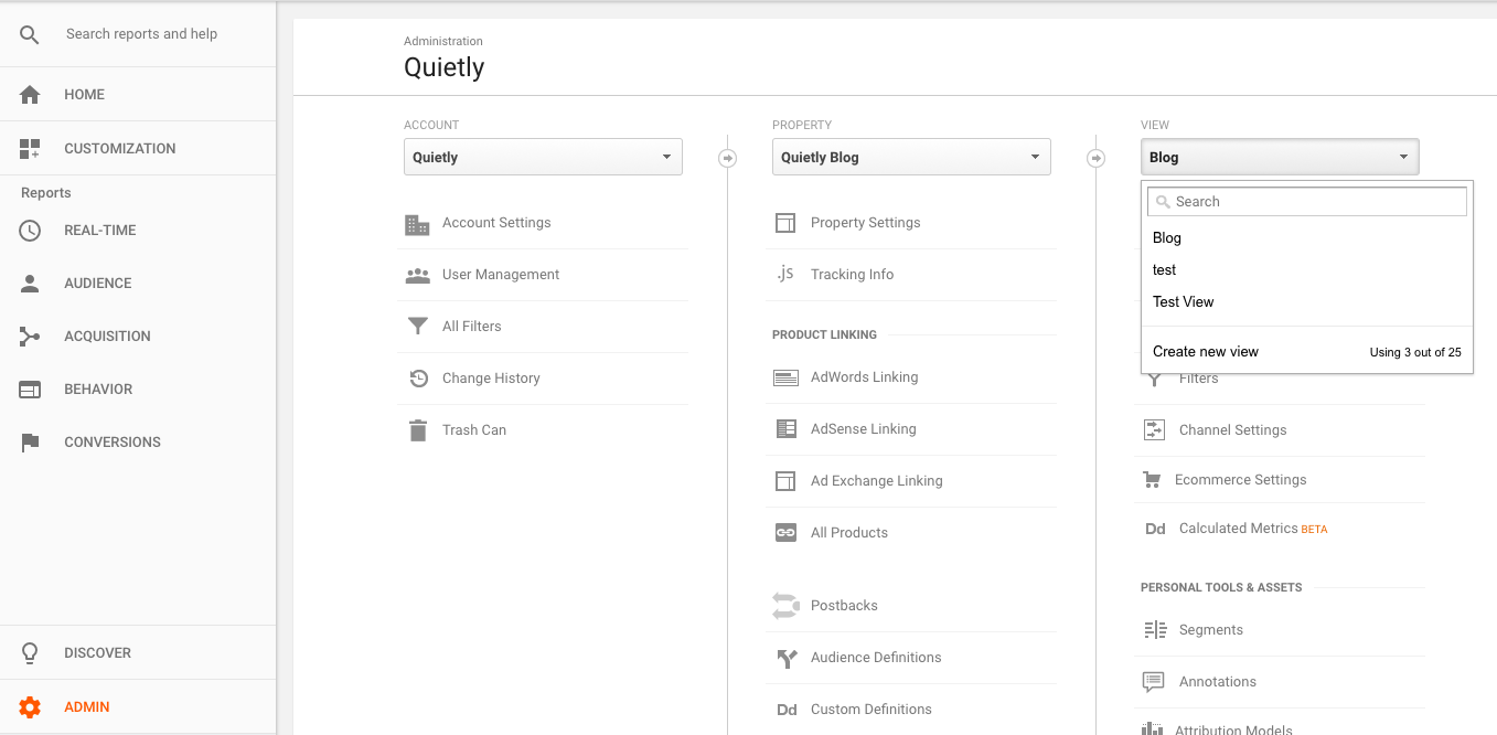 Create new view in Google Analytics