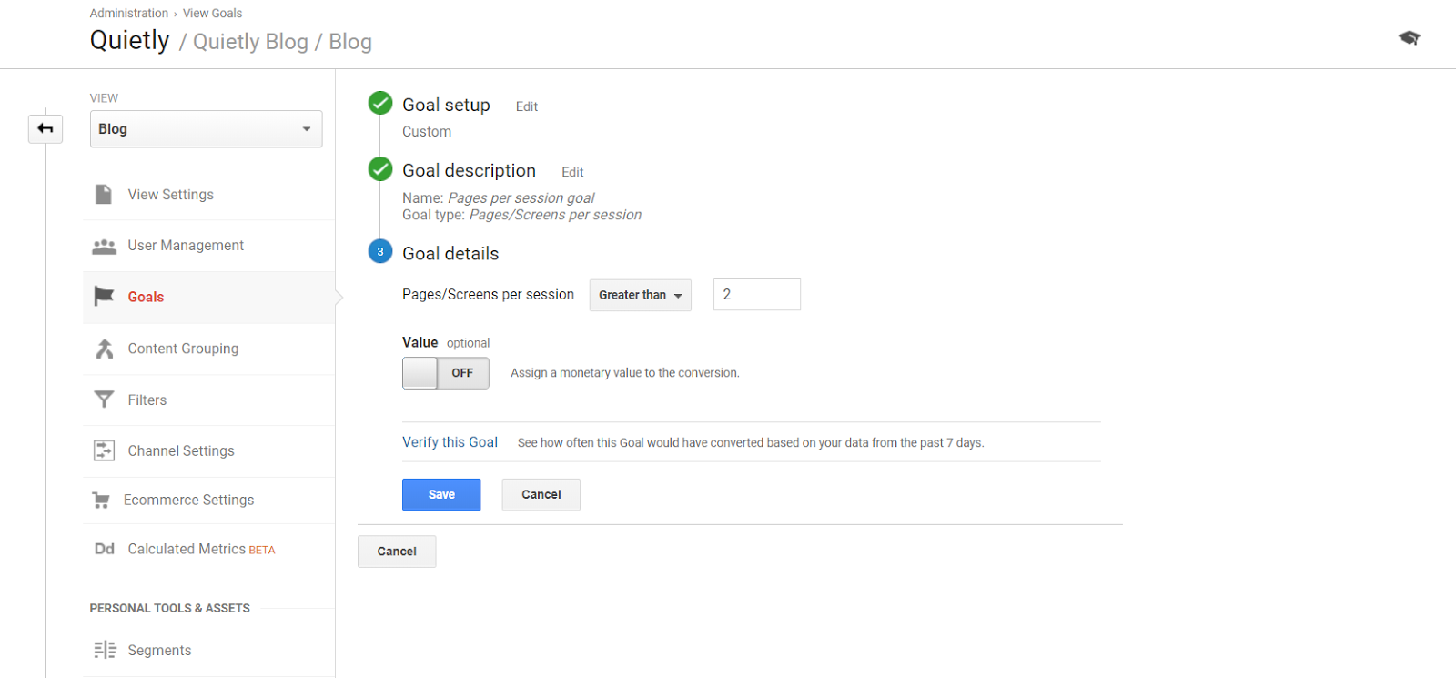 Pages/Screens Per Session Goal Google Analytics